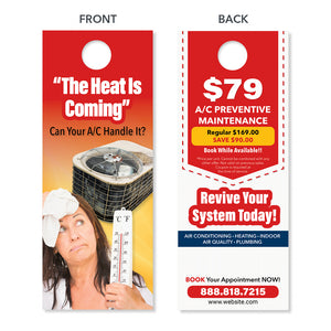 hvac door hanger hot thermometer