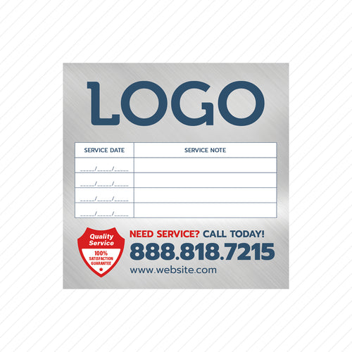 equipment service sticker for hvac and plumbers