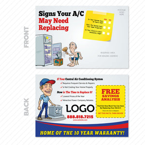 hvac system replacement postcard design
