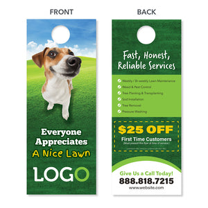 lawn care door hanger with dog funny