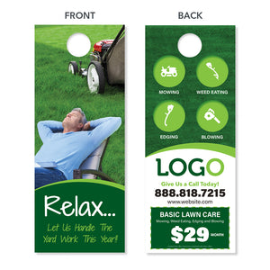 lawn care door hanger design relax