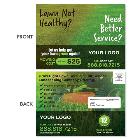 lawn care eddm postcard ugly healthy grass