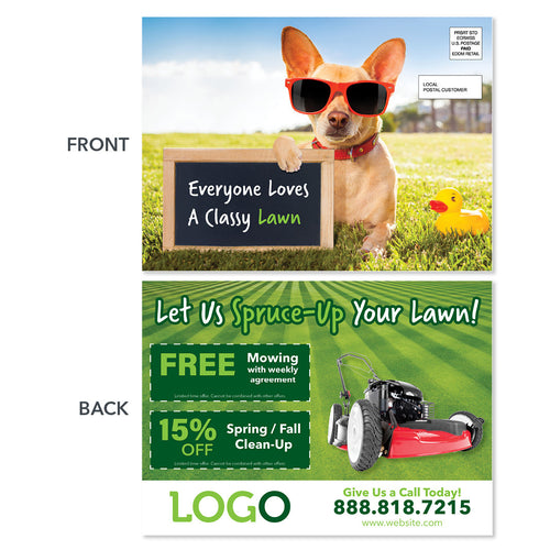 lawn care eddm postcard dog on lawn