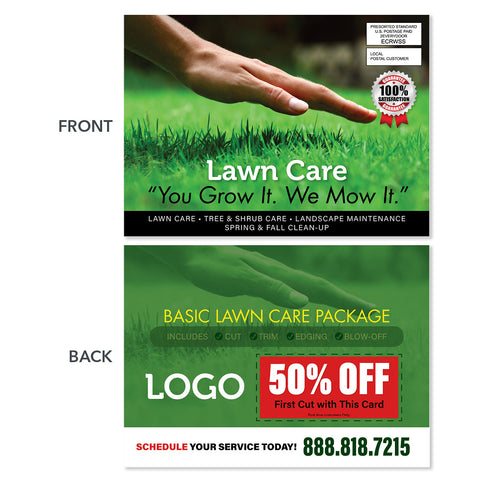 hand touching grass lawn care eddm postcard