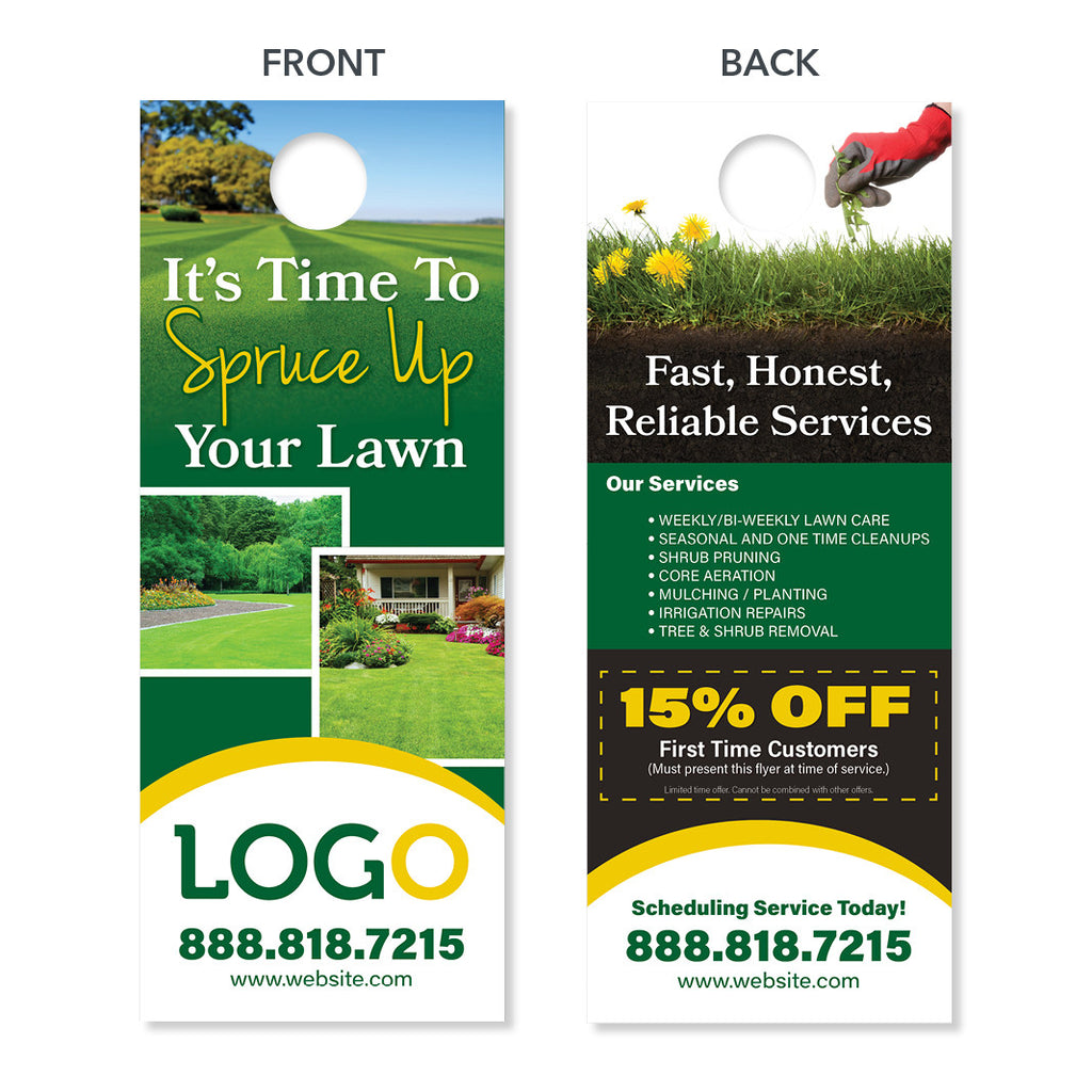 Lawn care door hanger designed printed free shipping for Lawn treatment companies
