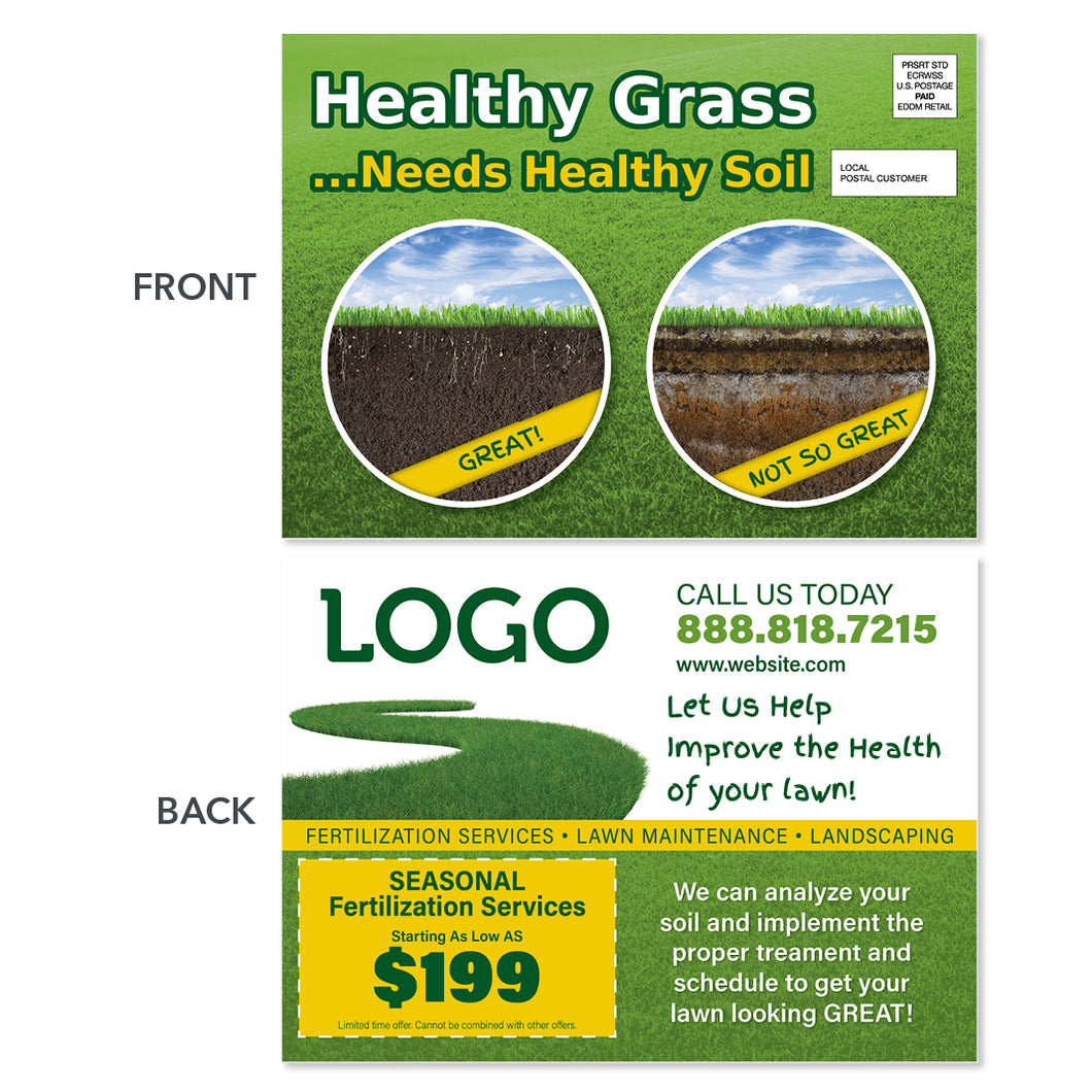 lawn fertilization eddm postcard