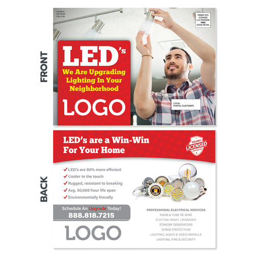led lighting upgrade eddm postcard for electricians