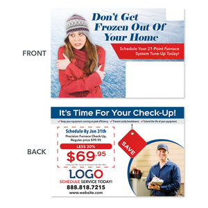 frozen woman heater maintenance hvac postcard