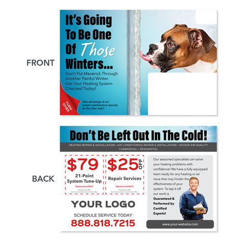 hvac heating maintenance postcard design with dog