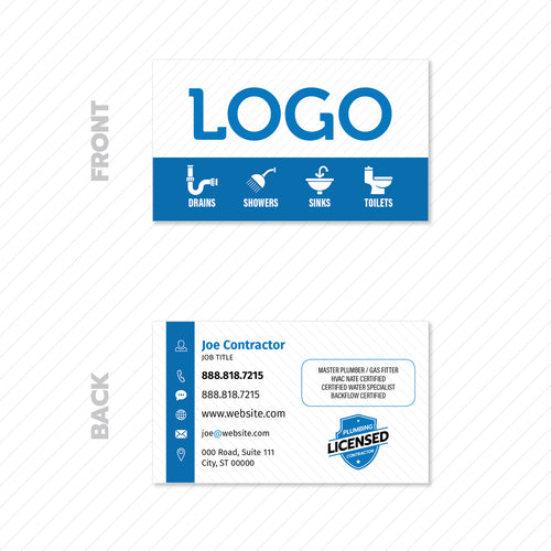 plumber business card design
