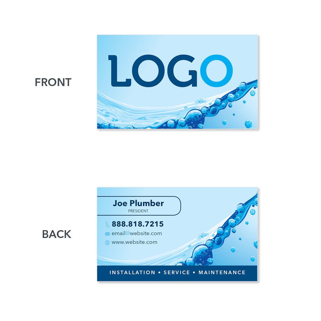 plumbing water filtration business card