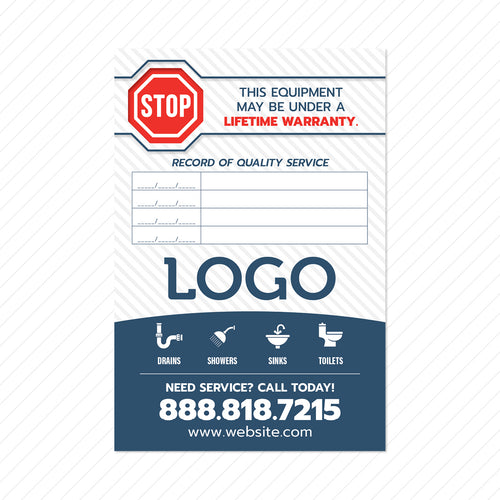 plumbing equipment maintenance sticker