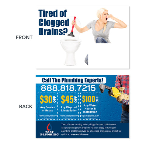 drain cleaning direct mail postcard
