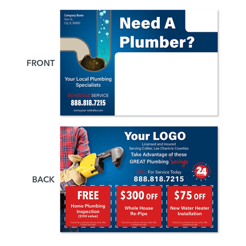drain cleaning plumbing postcard with wrench