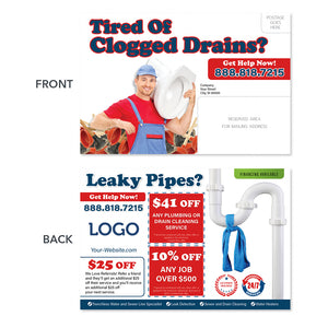 Clogged drain plumbing postcard with toilet