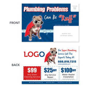 plumbing repair postcard with dog