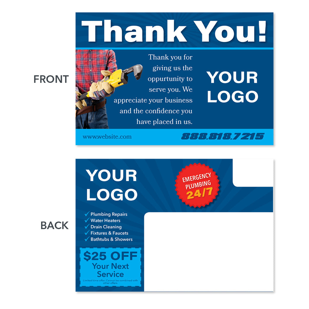 thank you plumbing postcard with wrench