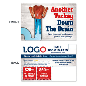 Thanksgiving plumbers postcard for drain cleaning