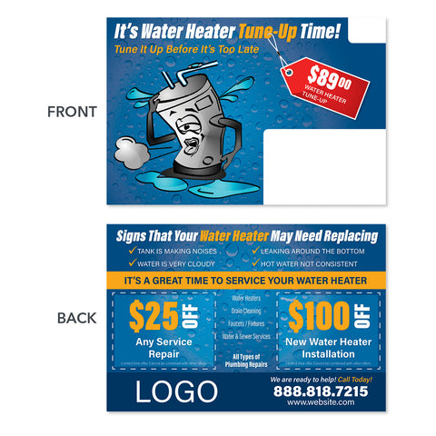 hot water heater plumbing postcard