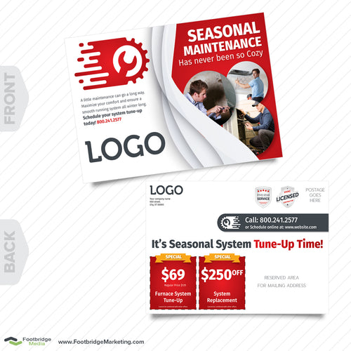 hvac heating furnace postcard design