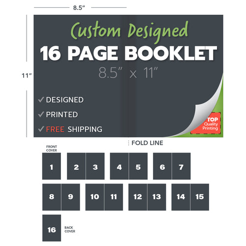 custom design print booklets 16 page