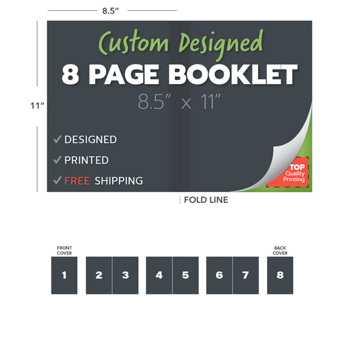 custom design print booklets 8 page