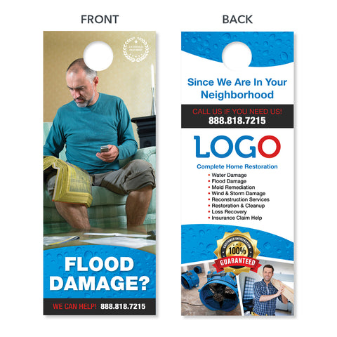 flood damage restoration door hanger