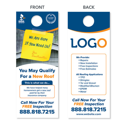roof replacement door hangers