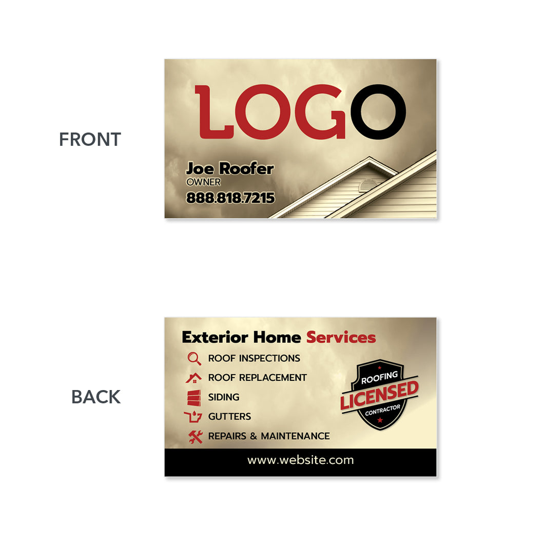 roofing contractor business card design