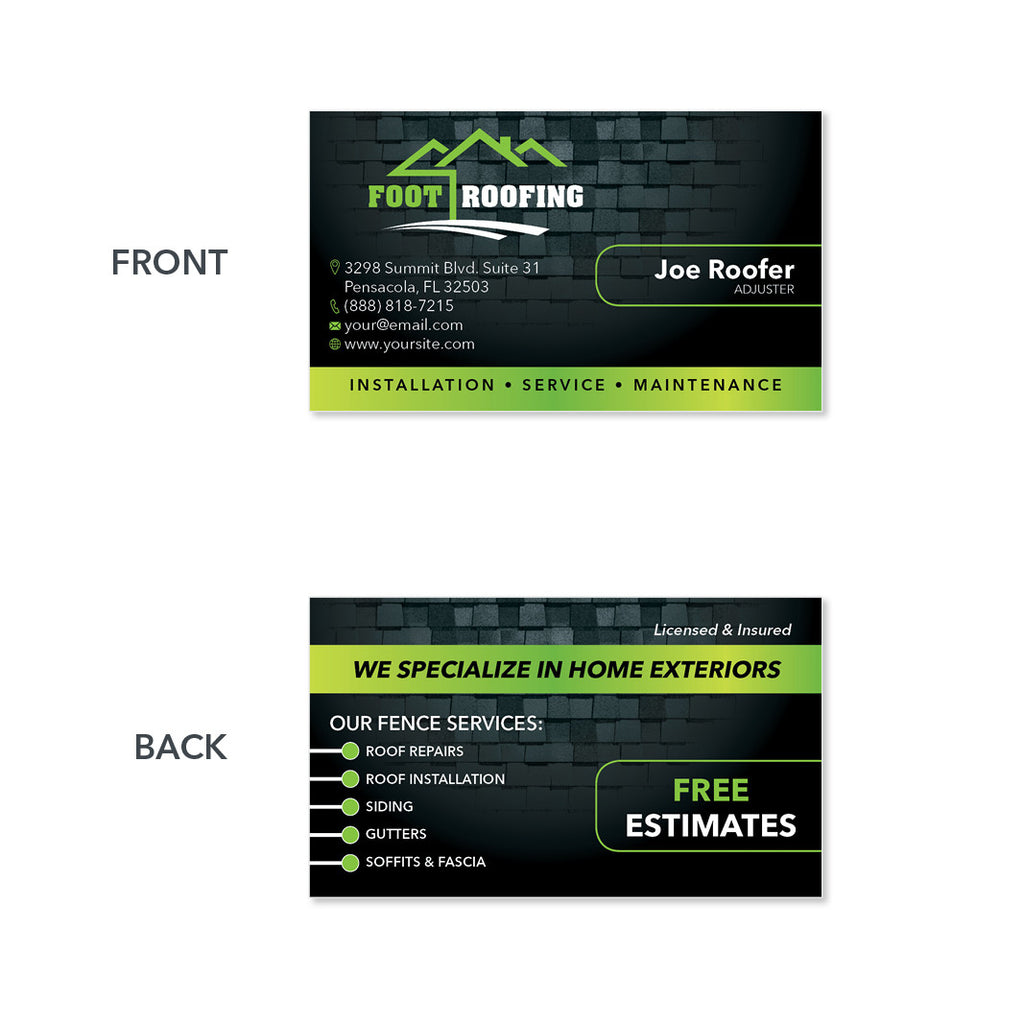 Roofers Business Card Design Customized For You High