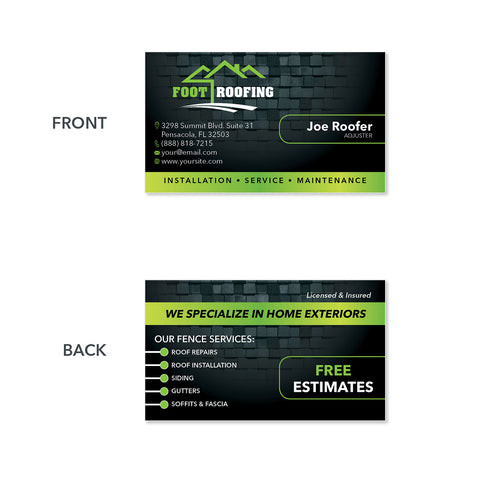 Business Card Design For Roofers