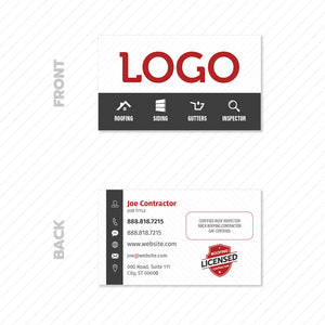business card for roofing contractor