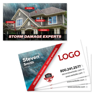 storm damage business card for roofers