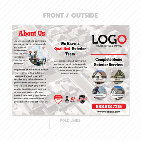 roof damage trifold brochure design
