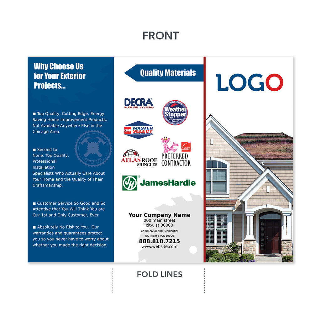 Roofing Trifold Brochure High Quality Design Print