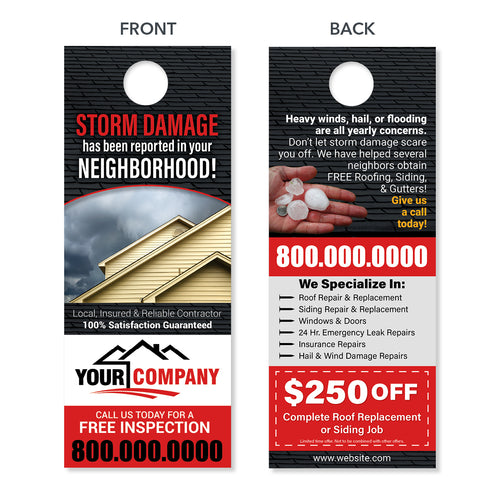 hail damage door hanger for roofers