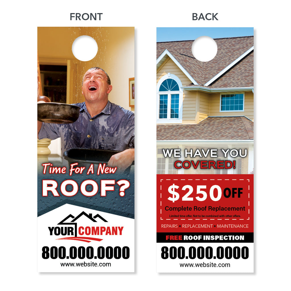 Roof replacement door hanger designed printed free for Window design group reviews