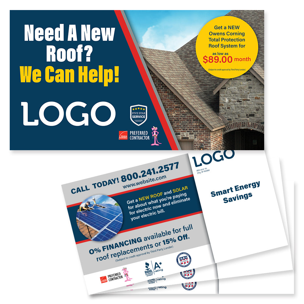 roofing and solar postcard mailer