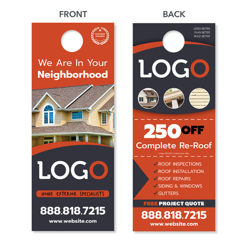 neighborhood door hanger for roofers