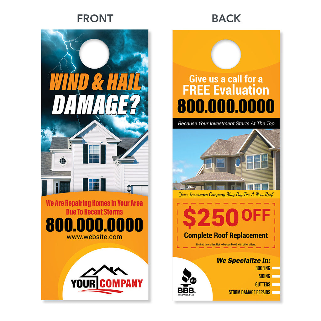 Storm Damage Roofing Door Hanger Designed Amp Printed