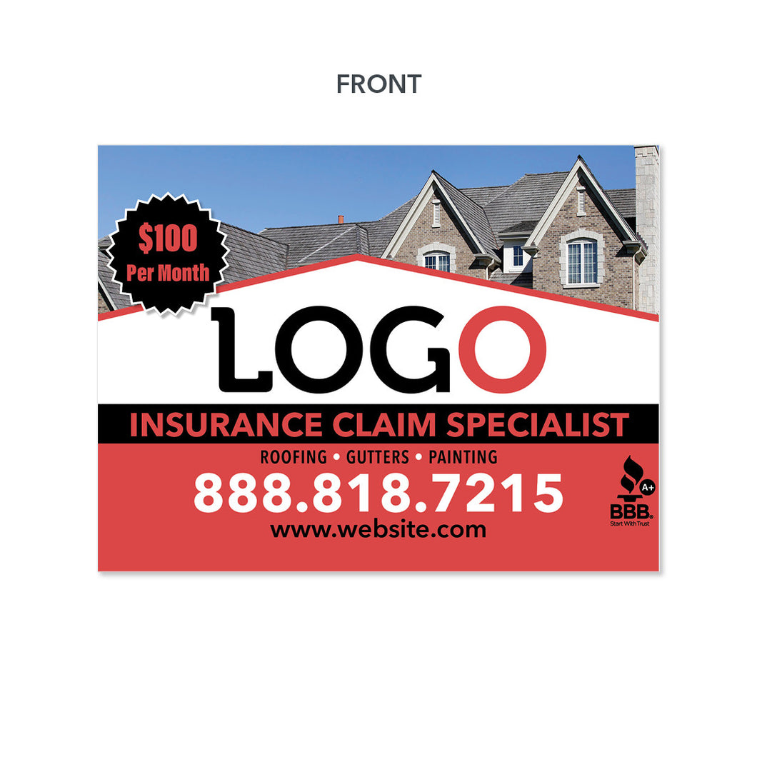 roofing insurance specialists yard sign