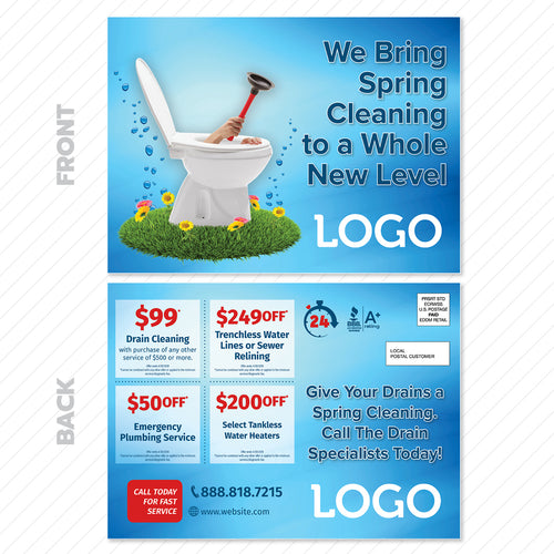 Spring drain cleaning eddm postcard for plumbers