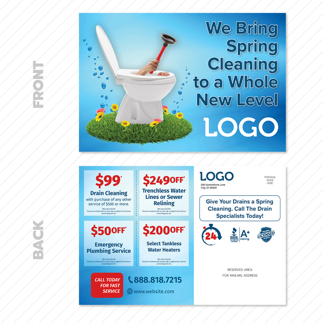 Spring drain cleaning postcard for plumbers