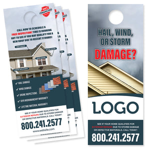 storm damage door hanger for roofers