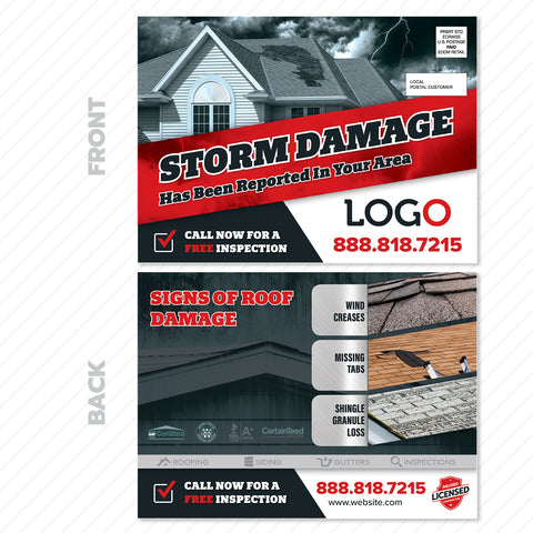 storm damage roofing postcard design