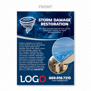 storm damage restoration flyer design