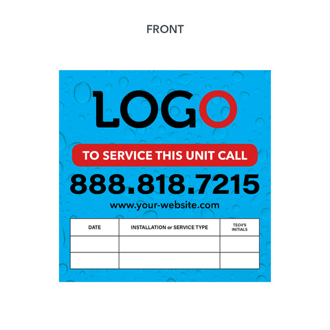 water heater unit service sticker