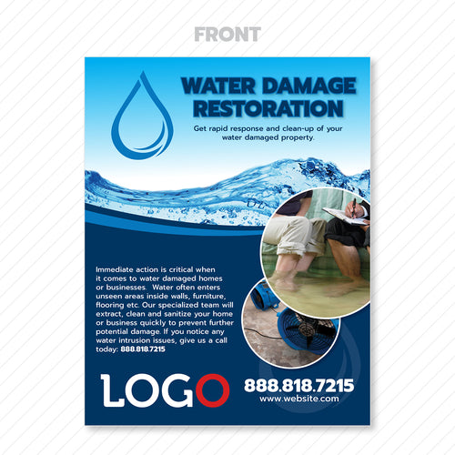 water damage restoration flyer design