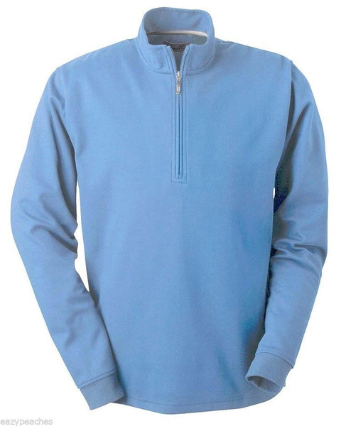 Ashworth 4747C Men's Quarter Zip Jacket/Sweater Long Sleeve Azure Blue 3XL