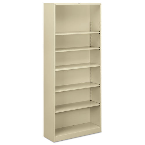 HON Metal Bookcase, Six-Shelf, 34-1/2w x 12-5/8d x 81-1/8h, Putty